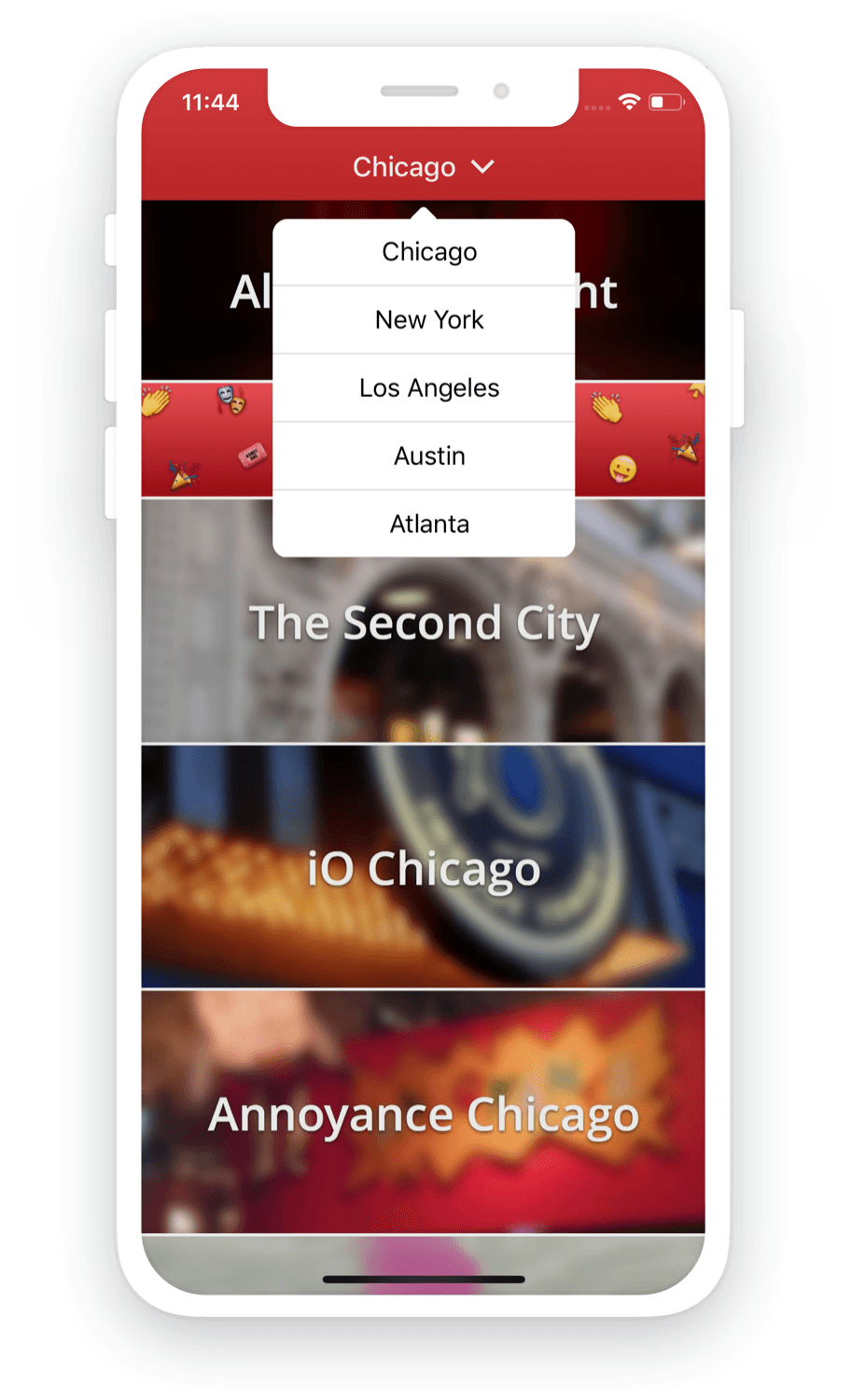 Improv Tonight app - City Select for Chicago, New York, Los Angeles, Austin, and Atlanta